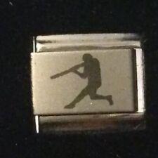 Laser Baseball Batter - Italian Charm Bracelet Link 9mm