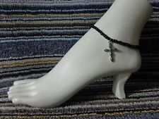 beads anklet stretchy silver beach wear New listing Cross alloy charm ankle bracelet