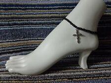 anklet stretchy silver beach wear Cross alloy charm ankle bracelet beads