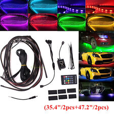 4x RGB LED Neon Light Strip Car Tube Underglow Underbody Glow System Remote 12V