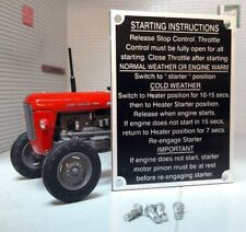 Massey Ferguson MF65 65 Tractor Starting Instructions Plate & Rivets