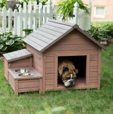 Dog House Outdoor For Large Dogs Small Medium Food Bowl Tray Wood Storage Strong