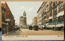 1909 Kansas City, Missouri, Busy Street View & Trolley Cars, DRUG STORE Postcard