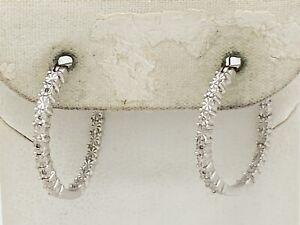 """Kay Jewelers Designer Sterling Silver Diamond Chip Hoop Earrings 3/4"""""""