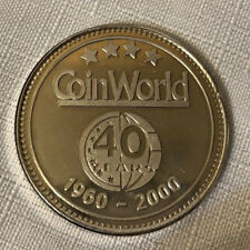 1960-2000 Coin World 40 Years silver Numismatic Weekly Magazine Medal.