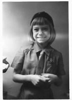 GIRL IN UNIFORM Found Photograph bw SCOUT Original Portrait VINTAGE 09 17 I