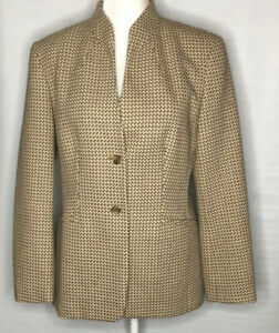 Talbots Womens Brown Double Button Career Blazer Jacket Size 8 Lined Classic