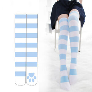 Lady Gothic Striped High Stockings Lolita Thigh Highs Cosplay High Socks Blue