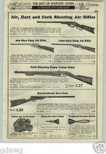 1933 PAPER AD King Quackenbush Dart Gun Rifle Daisy Pump Action Cork Mini Pistol