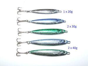 5 x 20g 30g 40g Mackerel Bass Cod Pike Spinners Treble Hooks Boat Pier Fishing