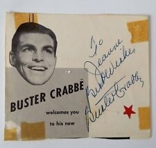 """BUSTER CRABBE - AUTOGRAPH NOTE HAND SIGNED """"TO JEANNE"""" 1950s"""