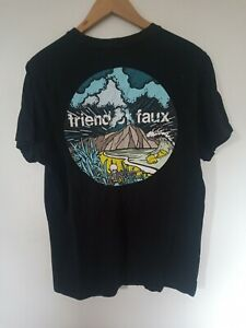 Mens Friend or Faux Black Graphic Fitted T Shirt Size L