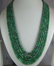 425Ct NATURAL EMERALD MULTI STRAND CABOCHON BEADS 5 STRAND  BEADS NECKLACE