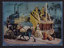 1969 Hallmark old Carriage & Steamer ship mechanical Toys continental postcard