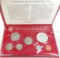 .1973 JAMAICA UNC COIN SET. $5 is STERLING. FRANKLIN MINT.