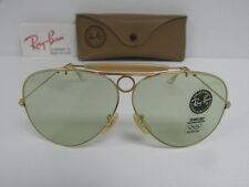 New Vintage B&L Ray Ban Shooter Gold Changeable Green Aviator USA Outdoorsman