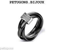 8790566fd7a Bague Femme 3 Anneaux x3mm ceramique noir Entrelacé