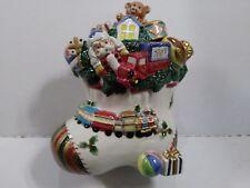 "Fitz And Floyd ""Toyland Santa"" Ceramic Cookie Jar, Christmas/Holiday Decor"