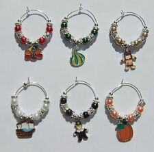 HOLIDAY BEADED WINE GLASS CHARM MARKERS (CHOOSE FROM 8 STYLES)