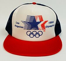 Vintage 1984 USA Olympics Los Angeles Mesh Trucker Snapback Hat Mint Condition