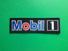 MOTOR RACING OILS, FUELS & TYRES SEW ON / IRON ON PATCH:- MOBIL 1 (c) BLACK