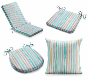Outdoor Striped Seat Chair Pad or Cushion Cover Water Resistant Garden Dining