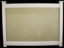 96' 6' x 8' Solid Privacy Vinyl Fence Sections & Posts Two Tone Beige & White