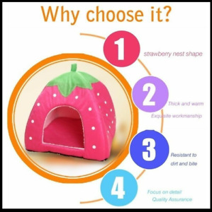NEW QZBAOSHU Strawberry House for Pet Dog and Cat S-XXL Pink FREE SHIPPING