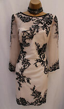 KAREN MILLEN IVORY & BLACK ORIENTAL MESH EMBROIDERED COCKTAIL SHIFT DRESS 12 UK