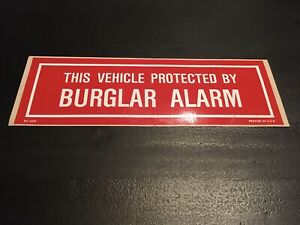 Burglar Alarm Decal