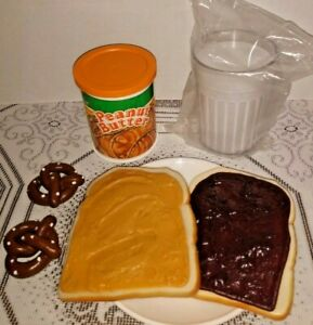 Fake Play Food PEANUT BUTTER Jelly Sandwich MILK fisher price MTC display PROP