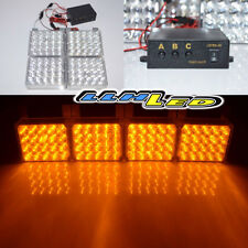 4 x 20 Amber Yellow LED Emergency Strobe Lights for Front Grille/Deck Universal