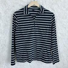 Lands End 1/4 Zip Fleece Pullover Blue White Striped Womens Medium Petite 10 12