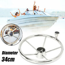 13.5'' Boat Marine Yacht 316 Stainless Steel Steering Wheel 5 Spoke With Knob