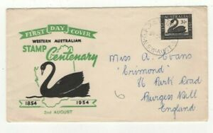 Western Australia 1st Day Cover 1954 Stamp Centenary Posted Sydney US175