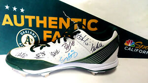 Stephen Vogt Sonny Gray Ryon Healy Oakland A's TEAM Signed Baseball Shoe Cleat