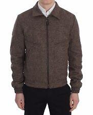 NUOVO DOLCE & GABBANA giacca marrone lana giacca corta ZIP S.IT48 / US38/M