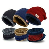 Men's Winter Beanie Hat and Scarf Set Warm Fleece Knitted Thick Knit Cap Kids UK