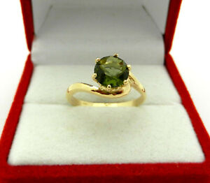 14k Yellow Gold Solitaire Round Green Tourmaline Ring size 5.75