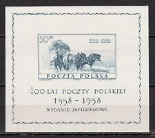 Poland - 1958 400 years post / Coach - Mi. Bl. 22 MNH (printed on silk!)