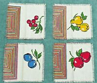 Vintage SET Cloth Napkins Cotton Printed Fruit Cherries Stripes 50s Lot of 8