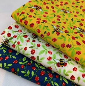 Bumble Bee & Strawberry Print fabric by Rose & Hubble 100% Cotton poplin CP0867