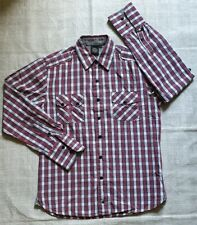 David & Goliath Men's Red White Plaid Long Sleeved Men's Shirt UK Size Medium