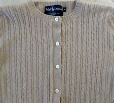 RALPH LAUREN BLACK LABEL Tan Cable-Knit Cashmere Cardigan Sweater M Medium Craft