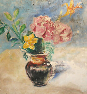 ANtique impressionist gouache painting still life with flowers