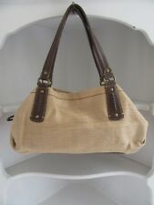 Fossil Woven Satchel Bag Tan Genuine Classic 1954 Handbag Leather Handle Purse