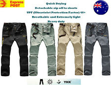 Mens Quick Dry UV Zip-Off Hiking Bush Walking Camping Outdoor Pants size 30-40