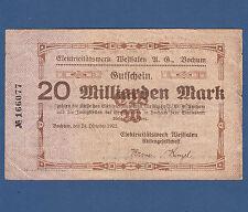 BOCHUM Elektricitätswerk 20 Milliarden Mark 1923 III- / VF-