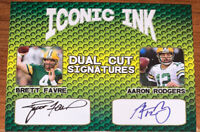 (6) BRETT FARVE & AARON RODGERS ICONIC INK SIGNATURES FACSIMILE CARD LOT