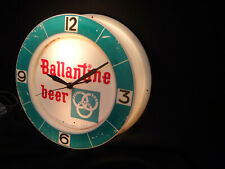 Vintage Ballantine Beer Advertising Clock Lighted Clock Works - RARE 1950's
